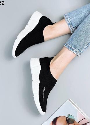 Кроссовки носки кеды материал обувной текстиль цвет черный5 фото