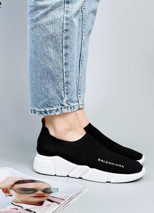 Кроссовки носки кеды материал обувной текстиль цвет черный3 фото