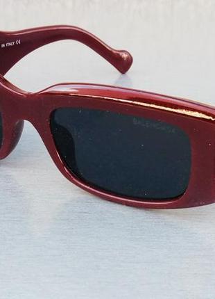 Balenciaga трендовые женские солнцезащитные очки темно бордовые линзы черные