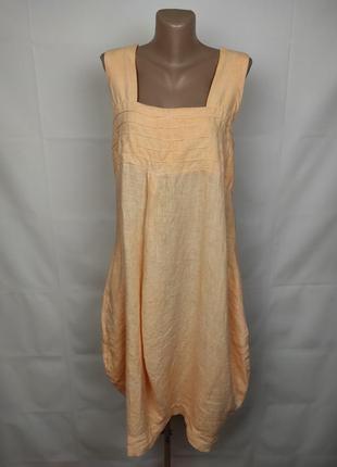 Платье персиковое стильное итальянское льняное uk 14-16