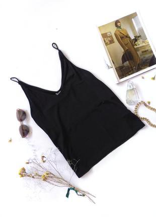 Черный топ на бретелях майка в бельевом стиле h&m1 фото