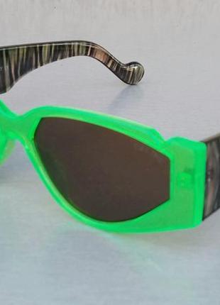 Celine стильные женские солнцезащитные очки салатовые яркие дужки коричневые перламутровые