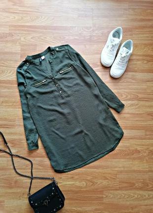 Женская удлиненная брендовая рубашка - блуза - туника h&m - размер 42-44