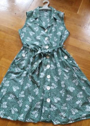 Хлопковое платье- халат р.18