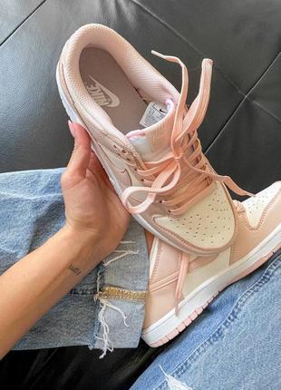 Dunk low retro white pink кроссовки кросівки 36,37,38,39,40 кожаные7 фото