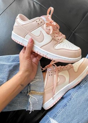Dunk low retro white pink кроссовки кросівки 36,37,38,39,40 кожаные5 фото