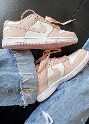 Dunk low retro white pink кроссовки кросівки 36,37,38,39,40 кожаные9 фото