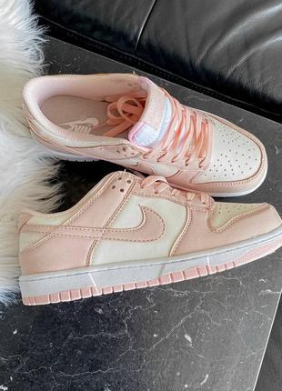 Dunk low retro white pink кроссовки кросівки 36,37,38,39,40 кожаные