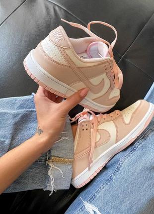 Dunk low retro white pink кроссовки кросівки 36,37,38,39,40 кожаные10 фото