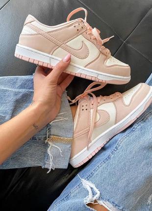 Dunk low retro white pink кроссовки кросівки 36,37,38,39,40 кожаные6 фото