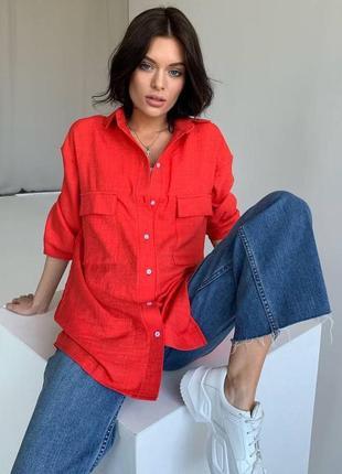 Женская льняная рубашка ( высокое качество)
