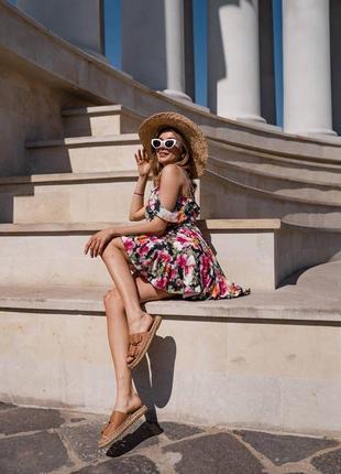 Платье мини с воланами в принт3 фото