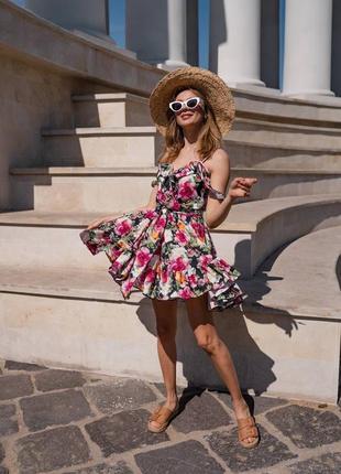 Платье мини с воланами в принт7 фото