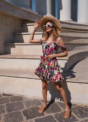 Платье мини с воланами в принт8 фото