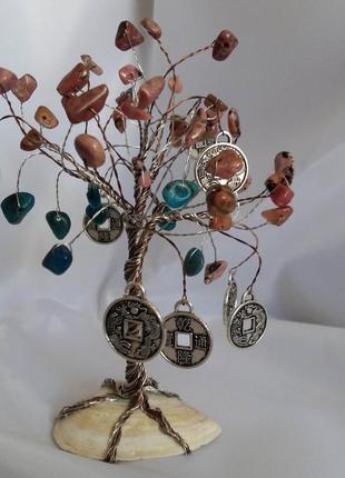 Новое денежное дерево фен шуй апатит родонит натуральный камень финансовый талисман