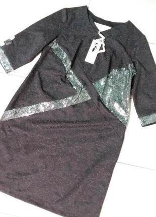 Плотное трикотажное нарядное в паетках платье 16-18 размера