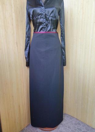 Итальянская чёрная длинная юбка с высокой талией sarah pacini 36/38