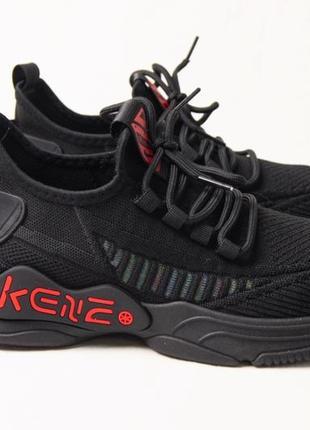 Мужские кроссовки на весну сеточка черные с красным, весенние кроссовки