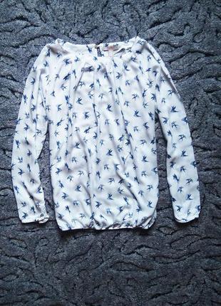 Невероятно красивая блуза с птичками - ласточками. s-m.
