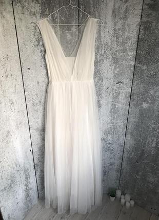 Фатиновое платье молочное выпускное нарядное