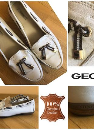 Белые кожаные мокасины лофферы geox 38 24.5см