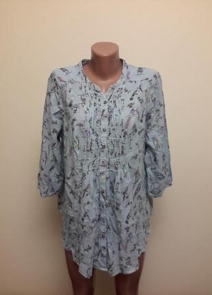 Тонкая лёгкая рубашка принт птицы m&s