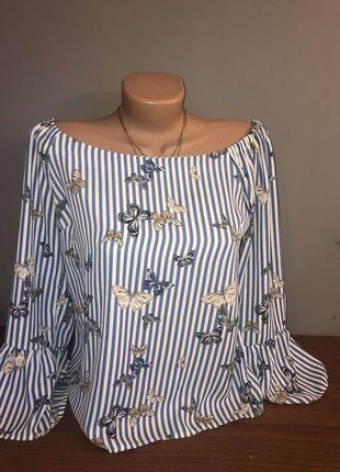 Блузка з опущеними плечиками, суперстильна