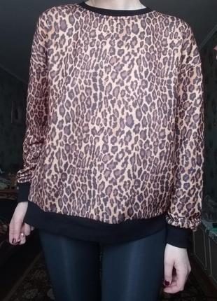 Стильный леопардовый свитшот5 фото