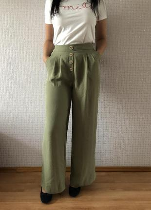 Шикарные брюки штани штаны свободного кроя оливковые клёш с высокой талией