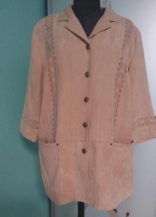 Базовый жакет/пиджак под замшу с перфорацией 18/20 размера