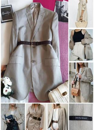 Шикарний подовжений лляний жакет піджак/удлиненный льняной пиджак блейзер