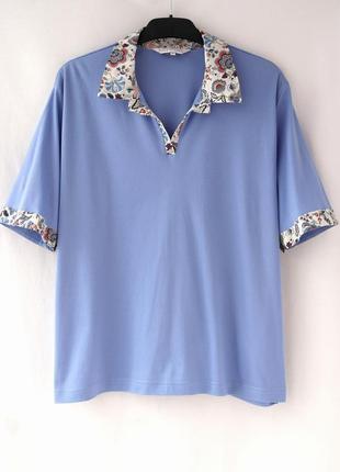 """Красивая хлопковая голубая футболка с воротником """"country collection"""". размер xl."""