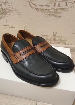 Кожаные мужские лоферы туфли италия vero cuoio