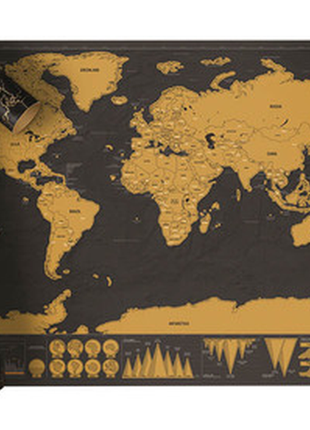 Стираемая скретч карта мира путешествий в тубусе travel scratch2 фото