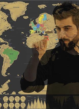 Стираемая скретч карта мира путешествий в тубусе travel scratch5 фото