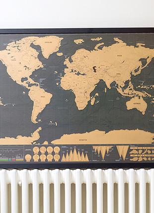 Стираемая скретч карта мира путешествий в тубусе travel scratch4 фото
