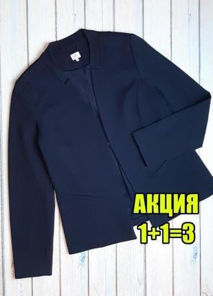 💥1+1=3 фирменный темно-синий женский пиджак блейзер milano, размер 46 - 48