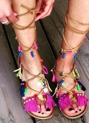 Новые босоножки gioseppo замша+кожа сандалии гладиаторы с подвесками и кисточками