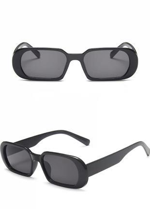 Солнцезащитные маленькие очки черные, винтажные овальные