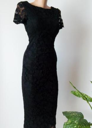 Платье 48 46 размер гипюровое черное кружевное миди вечернее футляр офисное