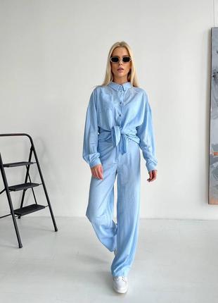 Костюм рубашка и брюки лен голубой