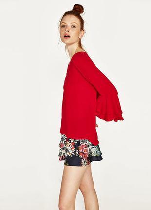 Zara красная блуза с воланами на рукавах, s, l