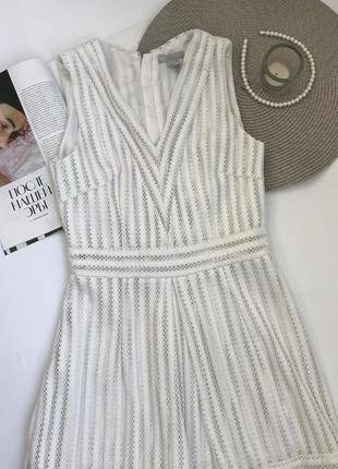 Белое платье h&m с v-вырезом вечернее