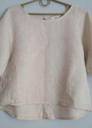 Бежевая льняная блуза с застёжкой по спинке, 💯% лён.