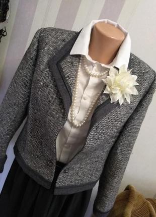 Дизайнерский винтажный жакет пиджак  винтаж премиум бренд шерсть франция