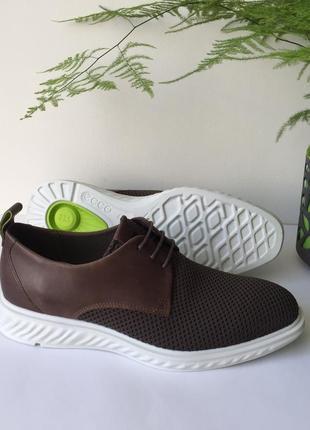Шикарні шкіряні туфлі оригінал ecco st.1 hybrid lite 837264 розмір 43