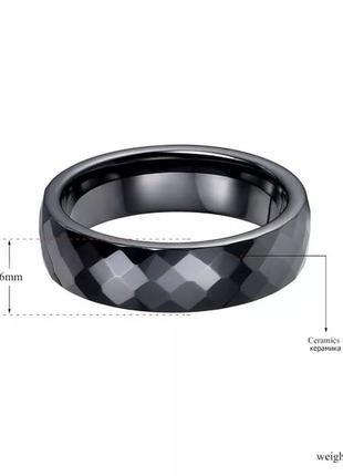 """Кольцо из черной ювелирной керамики """"грани""""3 фото"""