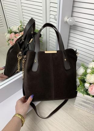 Замшевая коричневая женская сумка,средний размер,топ продаж