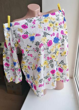 Блузка со спущенными плечами в цветы new look (к089)
