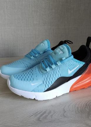 Распродажа!!!женские кроссовки nike air max 270 голубые с оранжевым
